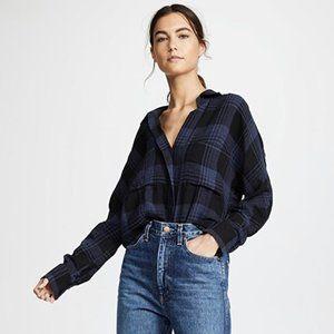 VINCE Heathered Plaid Blouse Blue Black Flannel L